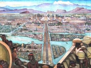 03-Tenōchtitlān and Tlatelolco-Mural by Diego Rivera, Mexico City, Palacio Nacional